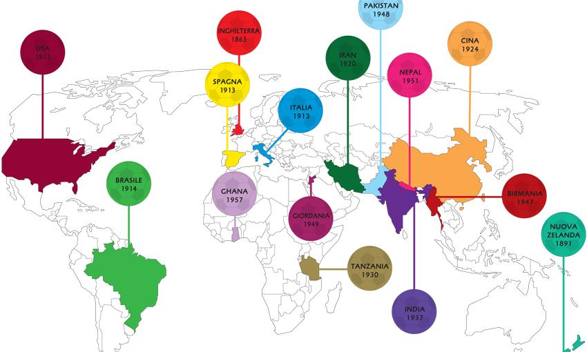 """Mappa calcio nel mondo - da """"Gool!"""" testi di Sean Taylor"""